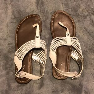 White and Silver Rope Sandals
